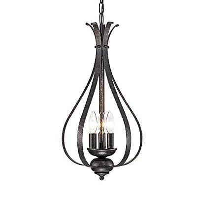LaLuLa Chandeliers Vintage Chandelier Lighting Bronze Hanging Fixture Industrial Pendant Light 3 Lights