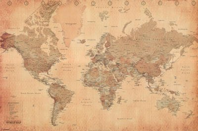 Posters maps poster world map vintage style in english 36 x posters maps poster world map vintage style in english 36 x 24 gumiabroncs Image collections