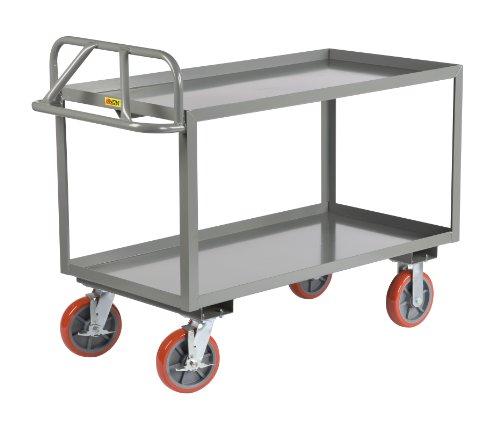 - Little Giant ERGL-2436-8PYBK Ergonomic Shelf Truck with Lip Edge Shelves, 3600 lbs Capacity, 36