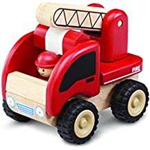 Wonderworld Miniature Wooden Fire Engine Vehicle Push Toy -  Movable Ladder, Driver Included, Real Rubber Tires