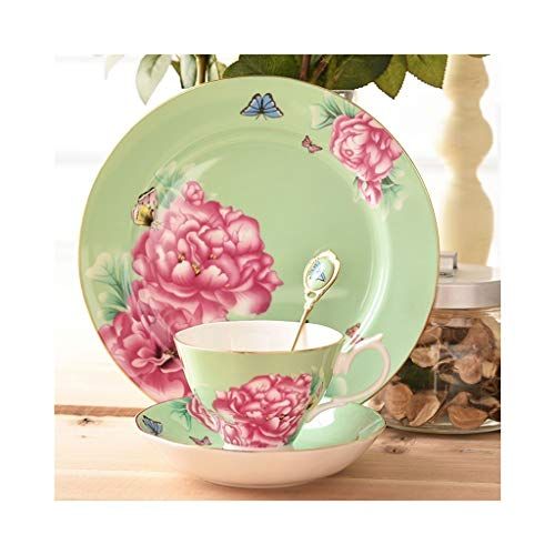 (Ceramic Tea Set Coffee Cup Saucer Dessert Plate Set Bone China English Afternoon Tea 180ml (PATTERN : D))