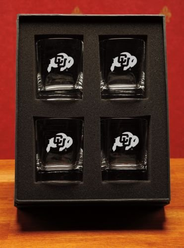 NCAA - Colorado Buffaloes 14 oz Deep Etched Double Old Fashion Glasses Gift Set of 4 by CC Glass