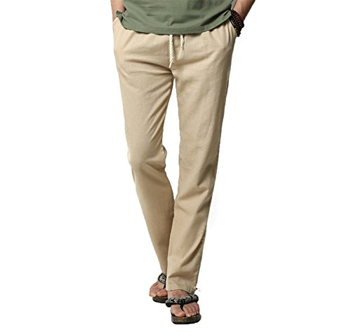 Reinhar Men's Casual Linen Pants Trouser Breathable Elastic Waist BeigeMedium