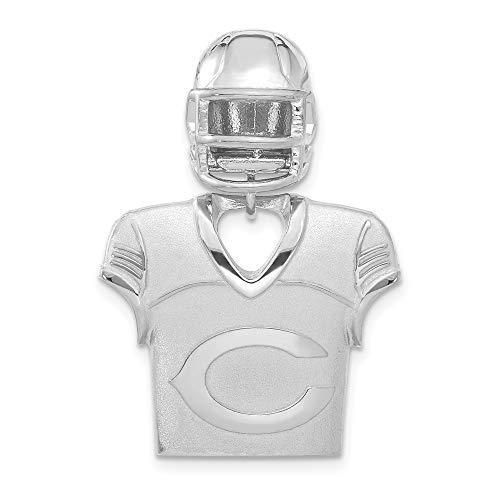 (NFL Sterling Silver Chicago Bears Jersey and Helmet Pendant)