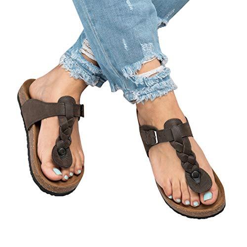 Syktkmx Womens Thong Braided T Strap Slip on Platform Buckle Strap Cork Flat Flip - Braided Platform