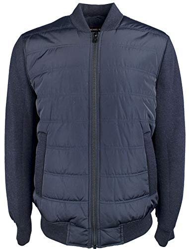 Michael Kors Men's Mix Quilted and Ribbed Knit Bomber Jacket-MB-S - Michael Kors Ribbed