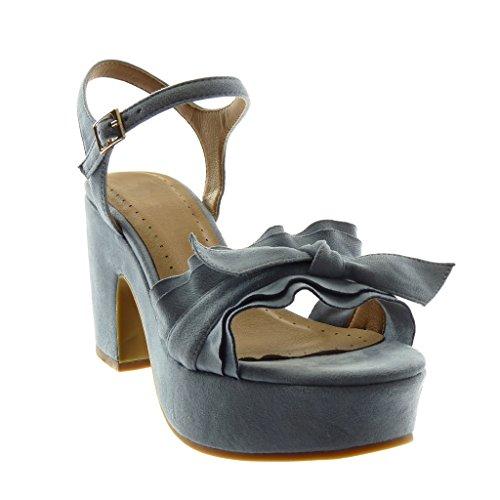 Women's Pump Node Block 8 High Buckle Heel Ruffle Angkorly Court Blue Sandals Shoes Strap Shoes 5 Fashion cm Platform Ankle Knot 7dgnqI