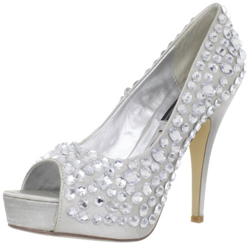 Highest Satin Ssat Pump Precious 400 Open Toe Women's The Silver Heel TwxqrTP