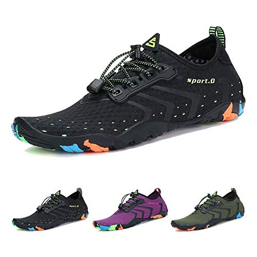 Oberm Water Sport Shoes Womens Mens Quick-Dry Barefoot Aqua Socks for Aerobics Beach Surf Pool Yoga Swim Diving, Black, 14 Women/12 Men (Best Shoes For Walking In Water)