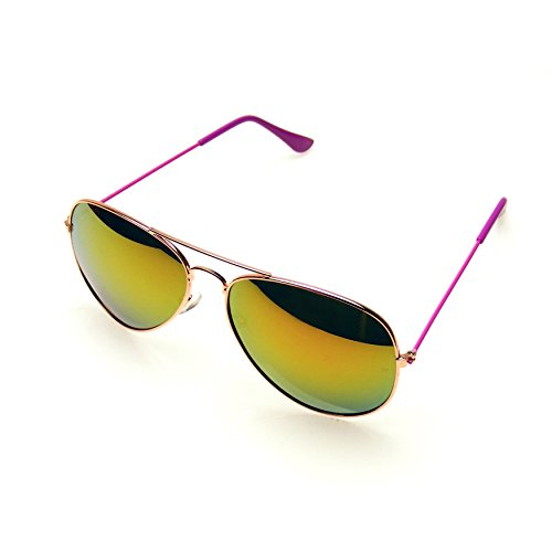 Aviator Sunglasses Mirror Lens New Men Women Fashion Frame Retro Pilot (Colorful Arm | Purple, - Aviator Colorful Sunglasses