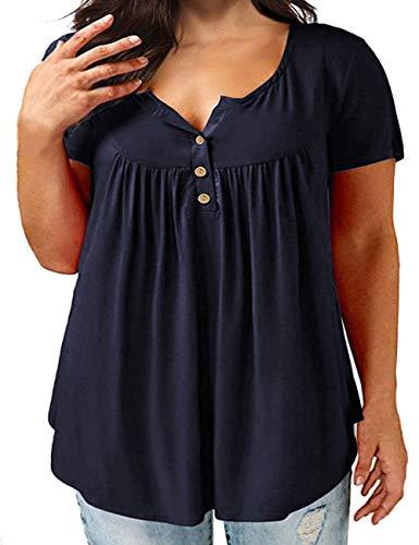 Gloria&Sarah Women's Plus Size Henley Shirt Short Sleeve Buttons Up Tunic Tops Casual Short Sleeve Blouse Shirts, Blue, XXXXL