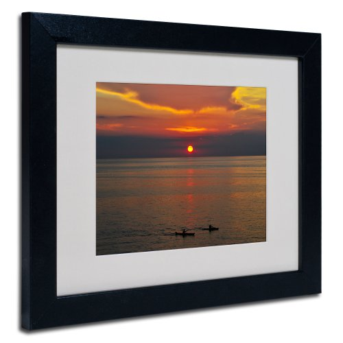 Sunset Paddle by Kurt Shaffer, Black Frame 11x14-Inch by Trademark Fine Art
