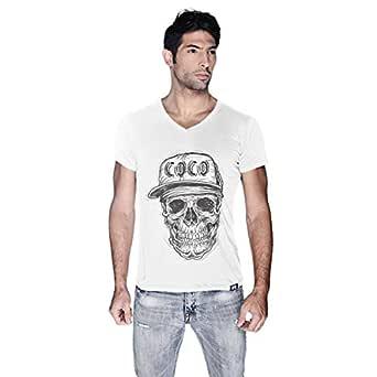 Creo Black Coco Skull T-Shirt For Men - L, White
