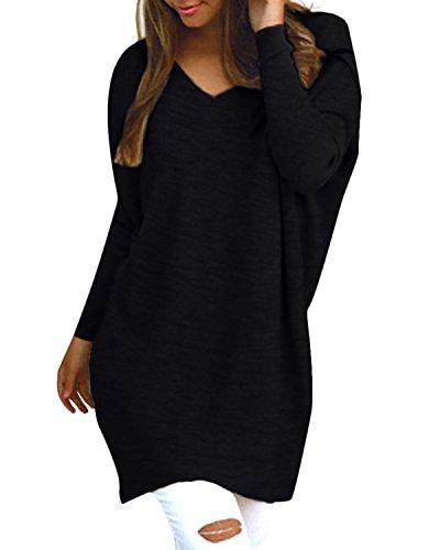 Style Dome Pullover Damen Casual Rundhals Langarmshirt Oversize Einfarbig Bluse Jumper
