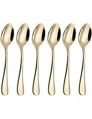 6 Piece Coffee Spoon 5-inch Stainless Steel Teaspoon Flatware Set Table Silverware Dishwasher Safe (Gold)