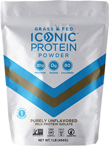 Iconic Protein Powder, Unflavored, 1 Lb (20 Servings) | Sugar Free, Low Carb Protein Shake | 20g Grass Fed Whey Protein & Casein Protein | Lactose Free, Gluten Free, Kosher, Non-GMO | Keto Friendly