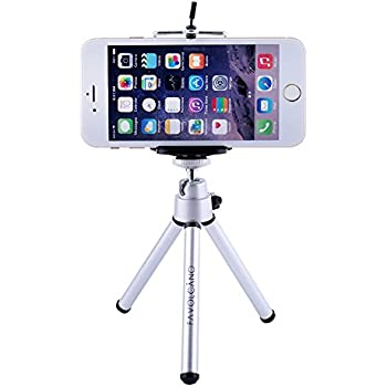 FAVOLCANO Universal Mini Adjustable Tripod Mount Stand with Phone Holder/Clip for Smartphones