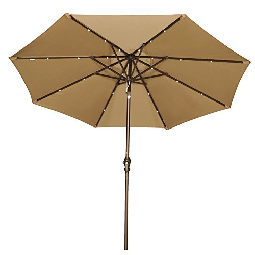 Abba Patio 9′ Round Aluminum Solar Powered 24 LED Light Patio Umbrella with Tilt and Crank, Brown