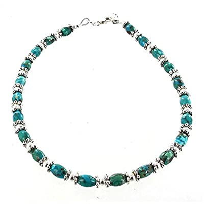 Womens Turquoise Ovals & Sterling Silver Ladies Beaded Gemstone Anklet with Daisies