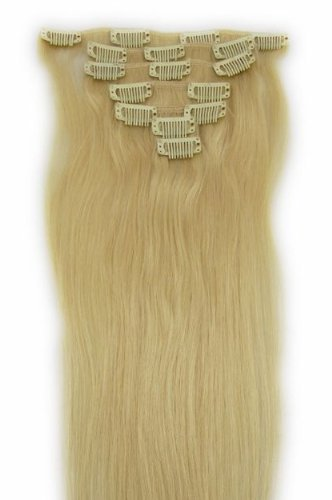 Amazon 18 clip in remy human hair extensions 613 bleach 18quot clip in remy human hair extensions 613 bleach blonde pmusecretfo Gallery