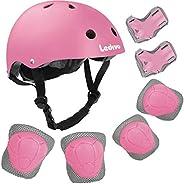 LEDIVO Kids Adjustable Bike Helmet Toddler Helmet for Kids 3-8 Years Girls Boys, Sport Protective Gear Set Kne