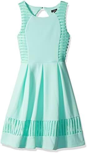 Zunie Big Girls' All Over Textured Knit Pleated Skater Dress