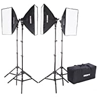 Fovitec StudioPRO 4000 Watt Photography Continuous Studio Softbox Lighting Light Kit - Four 20 Inch by 28 Inch Softboxes With Bag