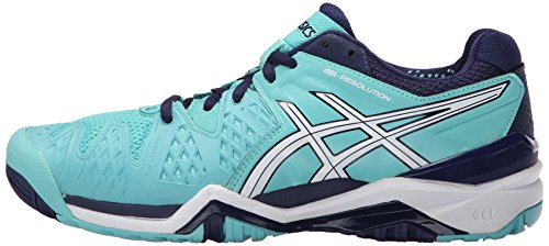 ASICS Women's Gel-Resolution 6 Tennis Shoe, Pool Blue/White/Indigo Blue, 10.5 M US