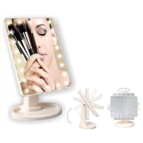 Cosprof LED Lighted Makeup Mirror,Touch Screen 16 LED Lighted Vanity Mirrors with Removable 10x Magnifying Mirrors,180 & 360 Degree Free Rotation Table Countertop Cosmetic Bathroom Mirror by Cosprof (Image #6)