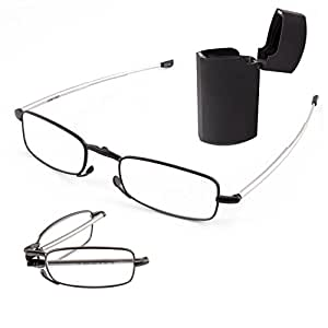 DOUBLETAKE 2 Pairs of Metal Compact Folding Reading Glasses with Mini Flip Top Carrying Case for Men and Women