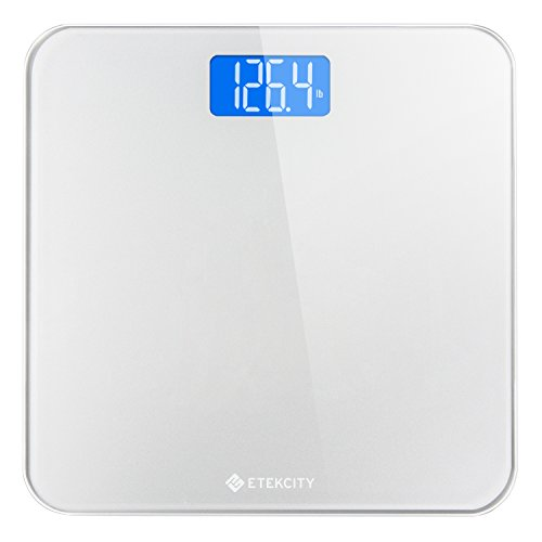 Etekcity Digital Bathroom Scale, Body Weight Scales with Body Tape Measure and Round Corner Design, Large Blue LCD Backlight Display, 400 Pounds