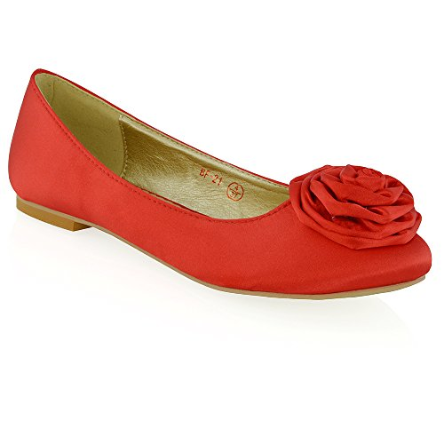 Party Satin Pumps Flache Rot Blume ESSEX Frauen Braut Dolly Satin Neue Schuhe Ballerina GLAM Damen wqTxpx6z1