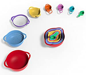 Vremi 13 Piece Mixing Bowl Set - BPA Free Plastic Mixing Bowls Nested Colorful with Measuring Cups and Teaspoons - Large Small Stackable Nesting Kitchen Bowls with Handles and Pour Spout for Baking
