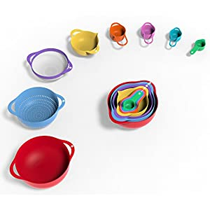 Vremi 13 Piece Mixing Bowl Set – Colorful Kitchen Bowls Colander Mesh Strainer with Handles Measuring Cups and Spoons – BPA Free Plastic Nesting Bowls with Easy Pour Spout for Baking Cooking and More