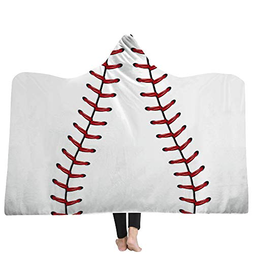 Mexidi Hooded Blanket, Adult Kids Cape Wrap Baseball Softball Soccer Soft Printed Wearable Throw Fleece Sherpa Fans Cloak Hooded Throw Poncho (E, 51x59inch)