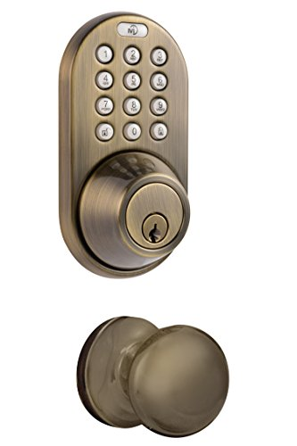 - MiLocks DFK-02AQ Electronic Touchpad Entry Keyless Deadbolt and Passage Knob Combo, Antique Brass