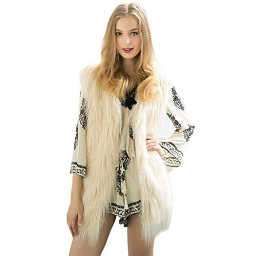 Transer ? Manteau Femme,Femmes lgantes de luxe long Gilet sans manches en fausse fourrure de veste de manteau d'extrieur Cheveux longs(S-XXXL) Beige