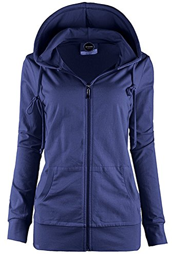 Solid Zip Front Hoodie - ViiViiKay Womens Casual Warm Thermal Knitted Solid Zip-up Hoodie Thin Jacket 7000 Navy L