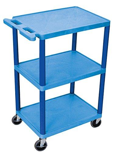 """LUXOR HE42-BU Flush-Shelf Carts, 3 Shelves, 24"""" W x 18"""" D x"""