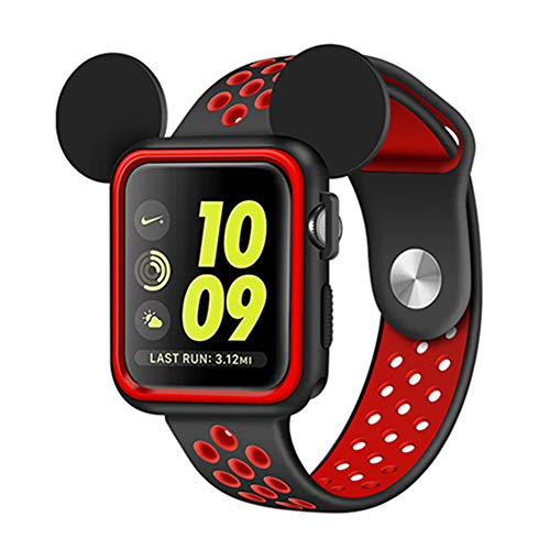 - Apple Watch Case 42mm Series 3/Series 2/Series 1 Sport/Edition/Nike Soft Silicone Protective Cover with Band for iwatch Case Cartoon Mickey Ears (Black/Red, 42 mm)