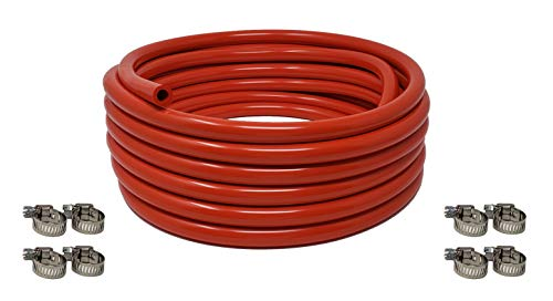 Sealproof Red 5/16-Inch ID, 9/16-Inch OD Tubing, 25 FT, CO² Gas Line with 8 Worm Gear Hose Clamps, for Homebrewing, Kegerator, Draft Systems, Beer Air Hose, 1/4