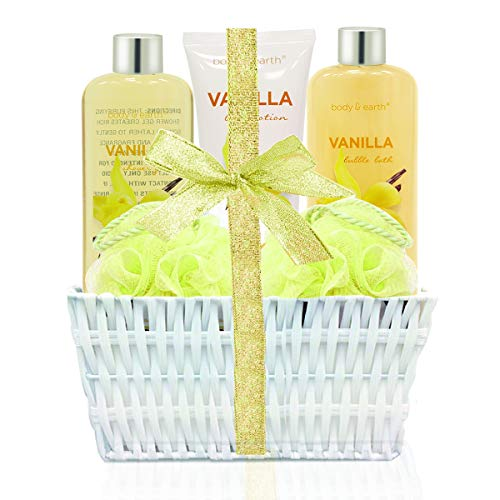 Spa Gift Kit for Women: Home Spa Basket Bath Set Scented with Vanilla Handmade Basket Wrapped Luxurious 5 Piece Bath Body Set