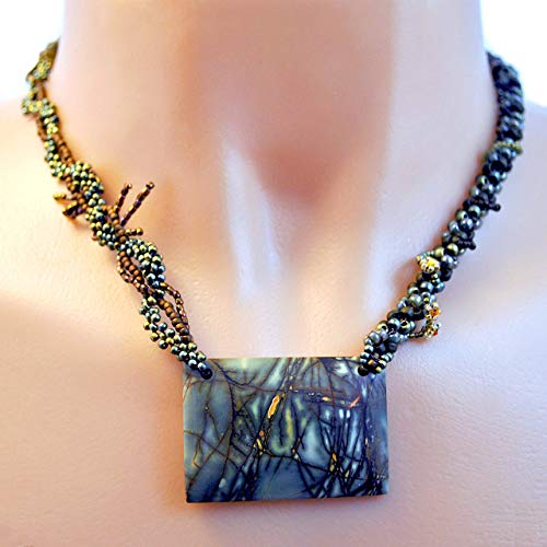 Scenic Jasper Art Necklace; Handcrafted and One of a Kind