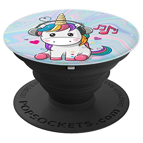 Cute Sitting Unicorn Music Headphones Unicorn Swirl - PopSockets Grip and Stand for Phones and Tablets ()