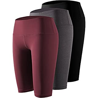 Cadmus Women's 3 Pack Compression Athletic Workout Shorts with Pocket,04,Black,Grey,Wine Red,X-Large