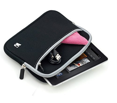 Travel Carrying Cover Case, Lightweight Sleeve, Scratch Resistant with Pocket For The New HP Slate 7 Tablet + an eBigValue Determination Hand Strap