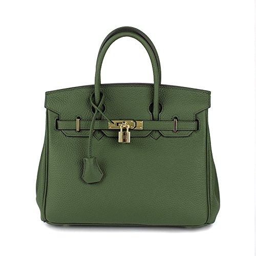 Pour Crossbody Femelle Box AASSDDFF main vert30x17x23cm Designer luxe Tote Femmes Véritable Sacs à Faux Femmes Sacs Sacs Bag Hand de Top Dames Lock armée OHPqwH