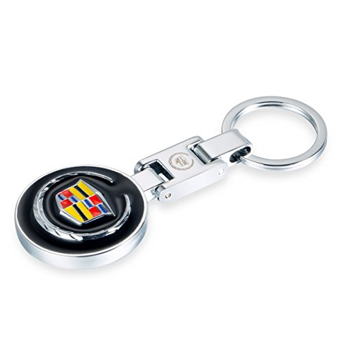 Deselen - EBS-BT13 - 3.5cm Round Car Key Chain for Cadillac, Double Sided Logo w/ Black Background , Mirror Polished Stainless Steel - Round Key