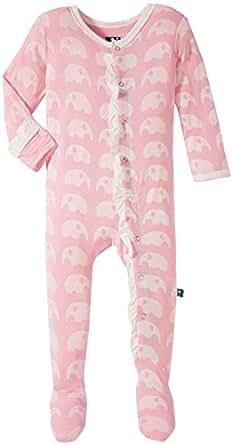 KicKee Pants Baby Girls' Newborn Print Ruffle Footie, Lotus Elephant, 0-3 Months