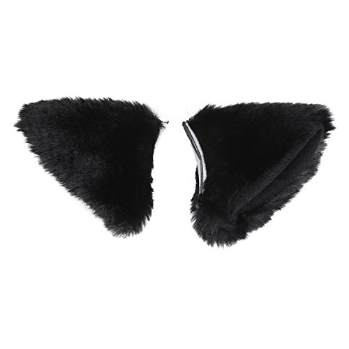 YiZYiF Cat Fox Long Fur Ears Anime Cosplay Headband Halloween Cos For Men Women Black Hair Clip One Size